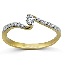 buy Finetresor Unique Curved Round Half Carat Solitaire Diamond Engagement Ring On White Gold