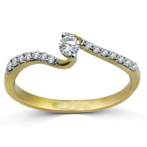 Finetresor Unique Curved Round Half Carat Solitaire Diamond Engagement Ring On White Gold