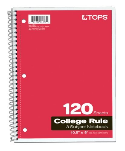 41kBtKAIW L. SL500  TOPS 3 Subject Spiral Notebooks, College Rule, 10.5 x 8 Inches, 120 Sheets/Book, Covers May Vary, 6 Pack (65013)