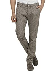 FEVER Men Self Design Trousers, Brown