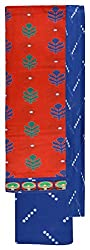 Sanskriti Women's Cotton Unstitched Dress Material (Red and Blue)