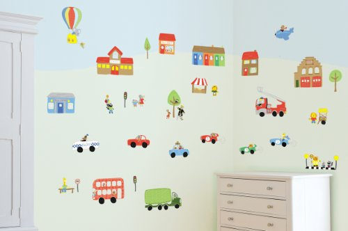 FunToSee 10 Count Nursery Wall Decal Kit, Jolly Town