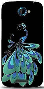Snoogg Peacock Feather Designer Protective Back Case Cover For HTC One S