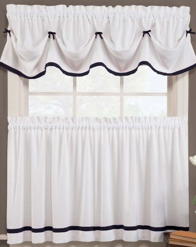 Kate Elegance Kitchen Curtain Tier Pair - White with Black Trim