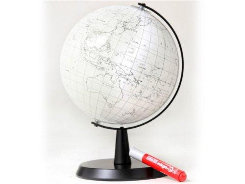 ボード用マーカーで書ける 渡辺教具製作所 地球儀 白地図地球儀WW21(黒台) No.2105