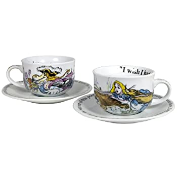 Alice in Wonderland Cup and Saucer Set of 2