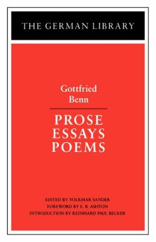 prosa essays poems gottfried benn german library