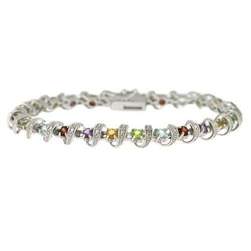 Sterling Silver Multi Gemstone Diamond Accent Spiraled Tennis Bracelet