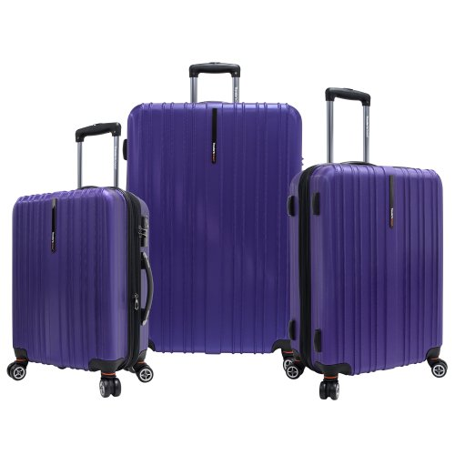 Travelers Choice Tasmania 3 Piece Luggage Set, Purple, Large best price
