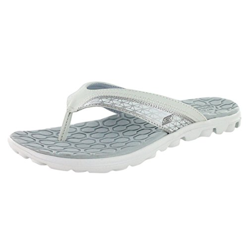 Skechers Women's On The Go Escape Flip Flop,White/Silver,10 M US