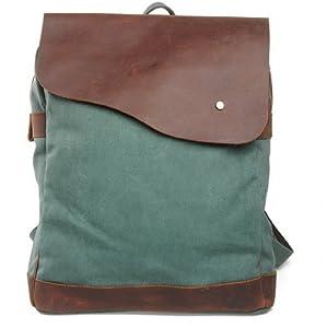 Simple Genuine Leather Canvas Laptop Schoolbag Rucksack Backpack Messenger Bag