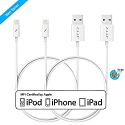 ZAAP® LIGHTNING CABLE/CHARGER CORD FOR CHARGING { 2 Pack } { COMBO} , SYNC. COMPATIBLE WITH IPHONE, IPOD AND IPAD. 3 Feet/ 1 Meter [APPLE MFI CERTIFIED, WHITE ]. TANGLE FREE PREMIUM QUALITY & 4000+ BENDS LIFE SPAN by ZAAP