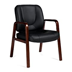 OTG11770B Luxhide Guest Chair with Wood Accents