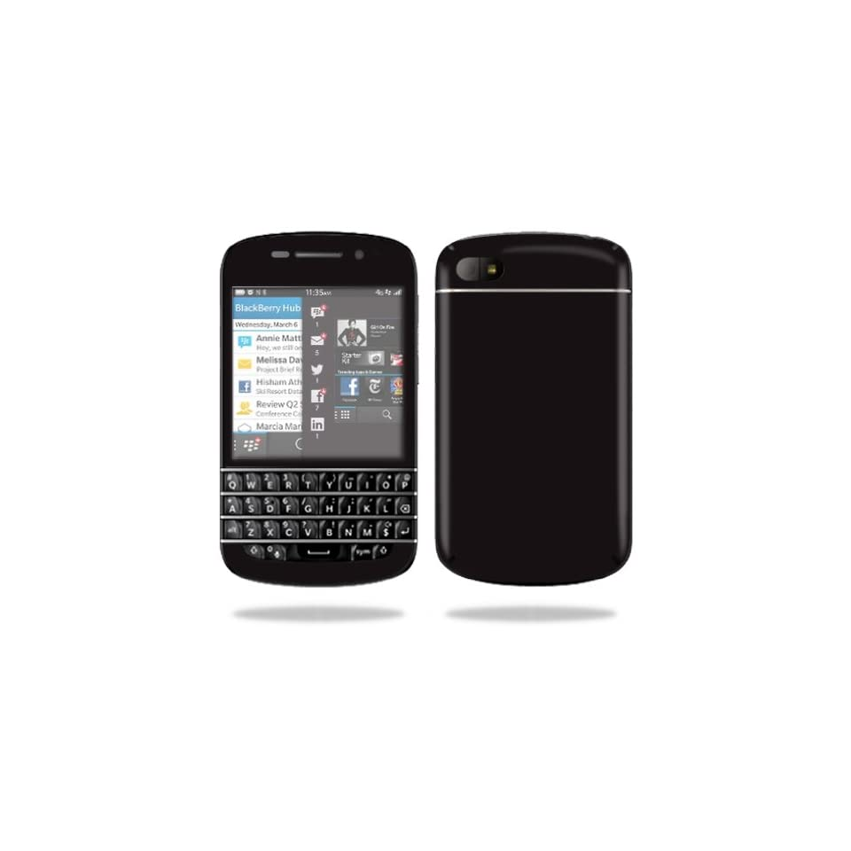 Mightyskins Protective Vinyl Skin Decal Cover for BlackBerry Q10 Cell Phone SQN100 3 wrap sticker skins Solid Black