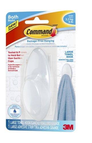 Command Towel Hook, Clear , 1-Hook, 5-Pound Capacity front-66436