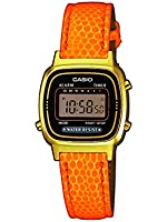 Casio - LA670WEGL-4A2EF - Vintage - Montre Femme - Quartz Digital - Cadran Noir - Bracelet Cuir Orange