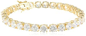 Platinum or 18k Gold Plated Sterling Silver Round Simulated Diamond Tennis Bracelet from PAJ, Inc