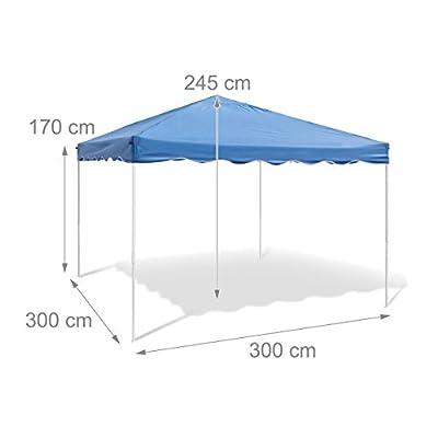 Relaxdays Faltpavillon HBT: ca. 2,45 x 3 x 3 m Faltbarer Pavillon für Garten, Camping und Festival Partyzelt mit Stahl-Gestänge und wasserabweisendem PE-Dach Gartenpavillon und Sonnenschutz, blau von Relaxdays auf Gartenmöbel von Du und Dein Garten