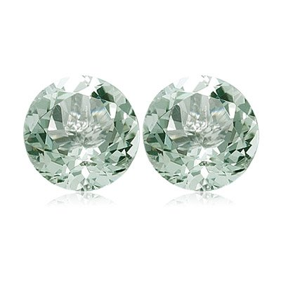 4.36-5.25 Cts of 9 mm AA Round Green Amethyst Matched Pair ( 2 pcs ) Loose Gemstones