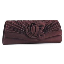 Damara Women\'s Satin Pleated Flower Front Evening Bag Clutch Handbag,Coffee