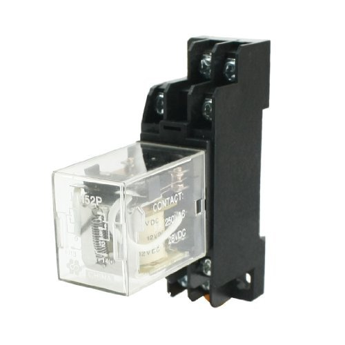 Dimart Dc12V Coil Voltage Dpdt 8 Pins Power Relay W 35Mm Din Rail Socket