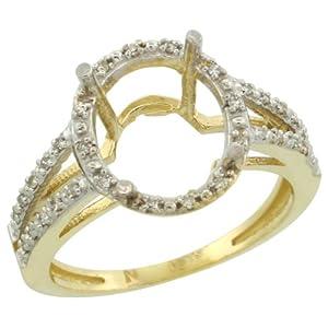 10k Gold Semi-Mount ( 11x9 mm ) Oval Stone Ring w/ 0.105 Carat Brilliant Cut Diamonds, 1/2 in. (13mm) wide, size 8.5