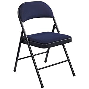 Commercialine Fabric Padded Folding Chair [Set of 4] Color: Blue
