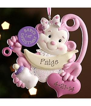 Personalized Baby'S 1St Christmas Monkey Ornament - Girl - Baby Gift