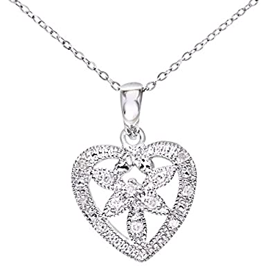 Ariel Women's 9ct White Gold Diamond Flower Heart Pendant + 46cm Trace Chain