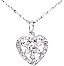 Naava Women's 9ct White Gold Diamond Flower Heart Pendant + 46cm Trace Chain