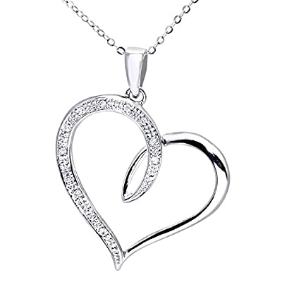 Ariel 9ct White Gold Diamond Heart Pendant + 46cm Trace Chain