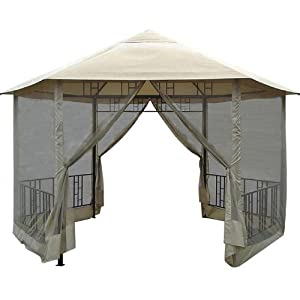 Hexagon Gazebo with Insect Screen by Brookstone