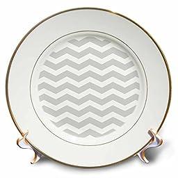 3dRose cp_120234_1 Gray & White Chevron Zig Zag Pattern Modern Contemporary Grey Zigzag Stripes Silver Zig Zags Porcelain Plate, 8\