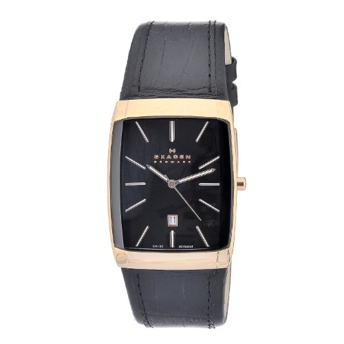 Skagen Stainless Steel Black Label Men's Quartz Watch with Black Dial Analogue Display and Black Leather Strap 984LRLB