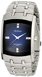 Armitron Men's 204507DBSV Swarovski Crystal Accented Silver-Tone Blue Degrade Dial Dress Watch
