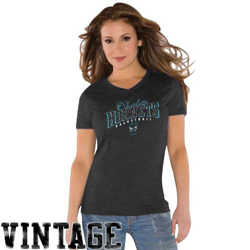 NBA Touch by Alyssa Milano Charlotte Hornets Ladies Black V-neck Tri-Blend T-shirt (X-Large) at Amazon.com