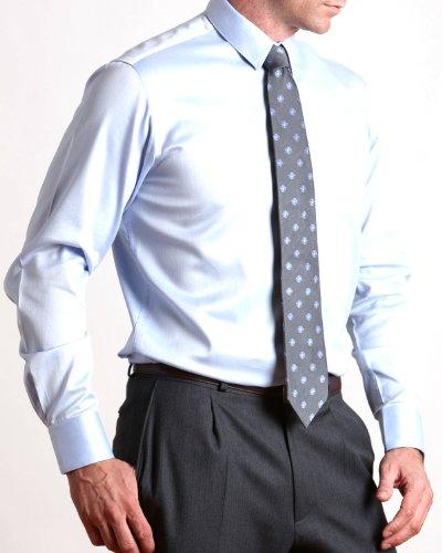 Savile Row Mens Blue Pique Slim Fit Formal Shirt Neck Size 15