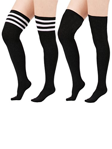 Zando Women's Stretchy Over the Knee High Socks Plus Size Thigh High Stockings 2 Pairs Black w Black w White