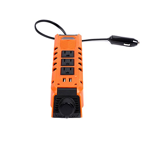 Yougeyu 150W Car Power Inverter DC 12V to AC 110V Converter Vehicle Charger Adapter with Dual USB Ports and 3 AC Outlets for Laptop, Tablet, Smart Phone,Camera and More Electronic Devices [Orange] (High Powered Car Alternator compare prices)