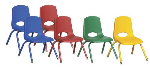 "ECR4Kids School Stack Chair with Powder Coated Legs/ Nylon Swivel Glides, 12"", 6-Pack, Assorted Colors"