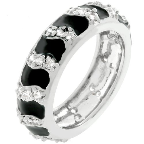 14k White Gold Plated CZ 3.9 CT Black Eternity Ring Size 9
