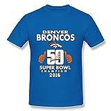 Jade Men's Tshirts - Vintage 50th Super Bowl Champion Denver 2016 RoyalBlue SizeXL