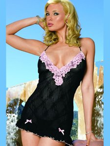 2Pc Boudoir Rose Lace Mini Dress With Contrast Lace Trim And G-String (Black/Baby Pink-One Size)