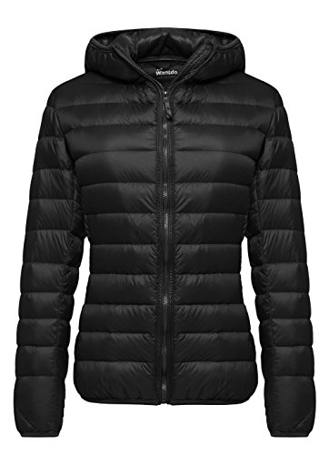 Wantdo Women's Hooded Packable Ultra Light Weight Down Coat Short Outwear(Black,US X-Large) (Women Coat Hooded compare prices)