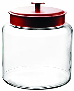 Anchor Hocking Montana 1-1/2-Gallon Jar, Red Metal Lid