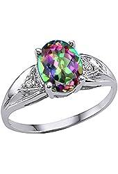 Tommaso Design Genuine 9x7 Oval Mystic Rainbow Topaz Ring