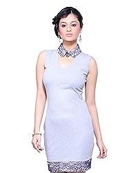 VeaKupia Women's Asymmetric Regular Fit Dress (Grey, 34)