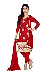 Indianbeauty Red Chanderi Straight Unstiched Salwar Suit Dress Material