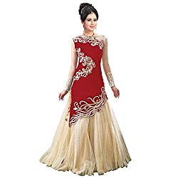 Khazanakart Exclusive Designer Red And Cream Color Georgette Fabric Un-stitched Lehenga Choli With Chiffon Dupatta Material.