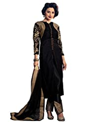 Shonaya Black Colour Embroidery Resham & Zari Work Velvet Semi Stitch Salwar Suit